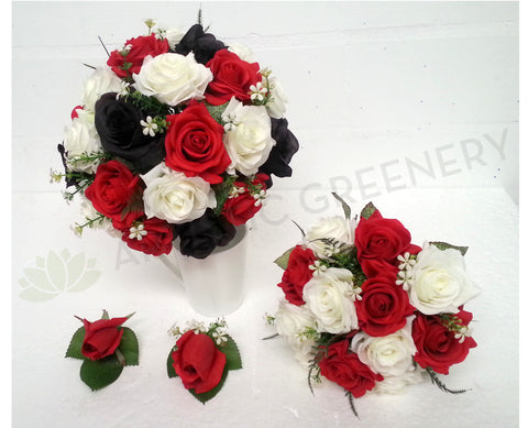 Silk Red White Black Rose Bridal Bouquet Custom Made Cheap Online