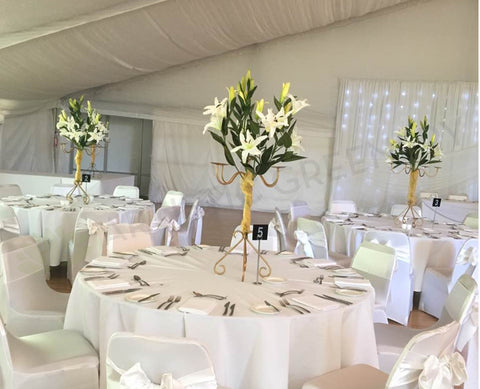 Custom design table centerpieces for wedding guest tables nice guest for hire custom made table centrepieces white lilies junglespirit Image collections