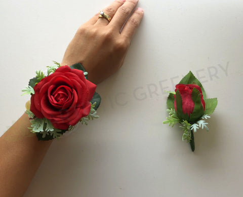 Corsage & Buttonhole - Red Rose with Greenery - CB0016 - $48/set
