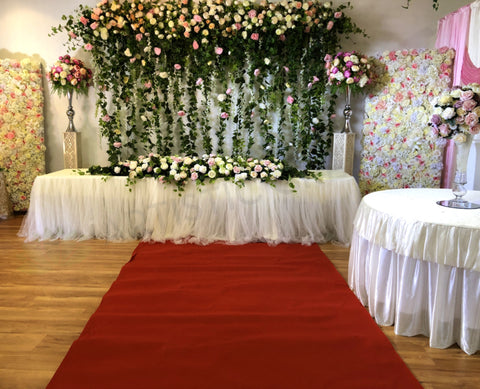 Carpet Runner / Wedding Aisle Runner (Felt)  2 meter wide - Red / White