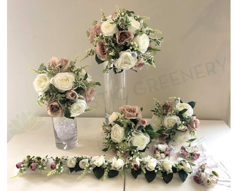 Round Silk Wedding Flowers White Pink Roses With Snapdragons Flowers