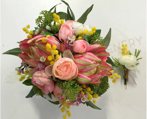 Round Bouquet - Native Pink & Yellow