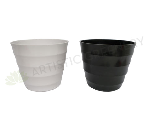 Plastic Pot Round (Thick Lines) - Black / White