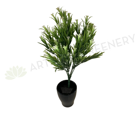 SP0002 Greenery Bunch with White Flowers 37cm