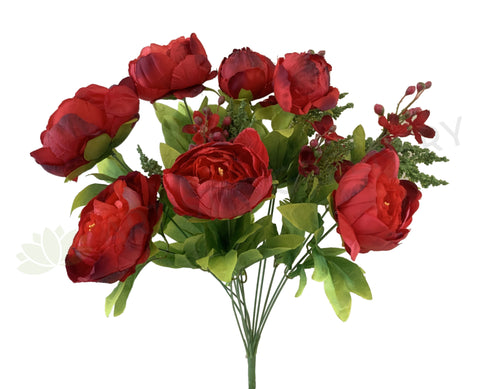 SP0013 Red Silk Peony Ranunculus Bunch 55cm Red | ARTISTIC GREENERY