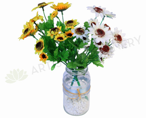 SP0040 Small Sunflower Bunch 27cm Yellow / White