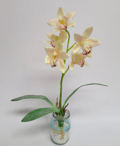 SP0045 Cymbidium Orchid Bunch with Leaves 42cm 4 Colours