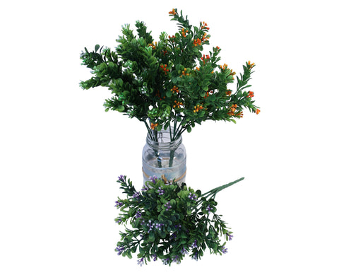 SP0057 Boxwood Picks with Flowers 32cm 3 Colours