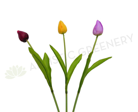 SP0063RT Small Tulip Single Stem Real Touch 47cm Plum / Yellow / Purple