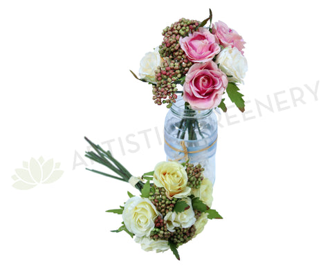 SP0067(e) Rustic Rose Bunch with Berries 21cm 2 Colours