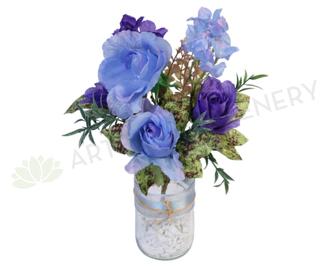 SP0100 Blue & Purple Rose Bunch 35cm