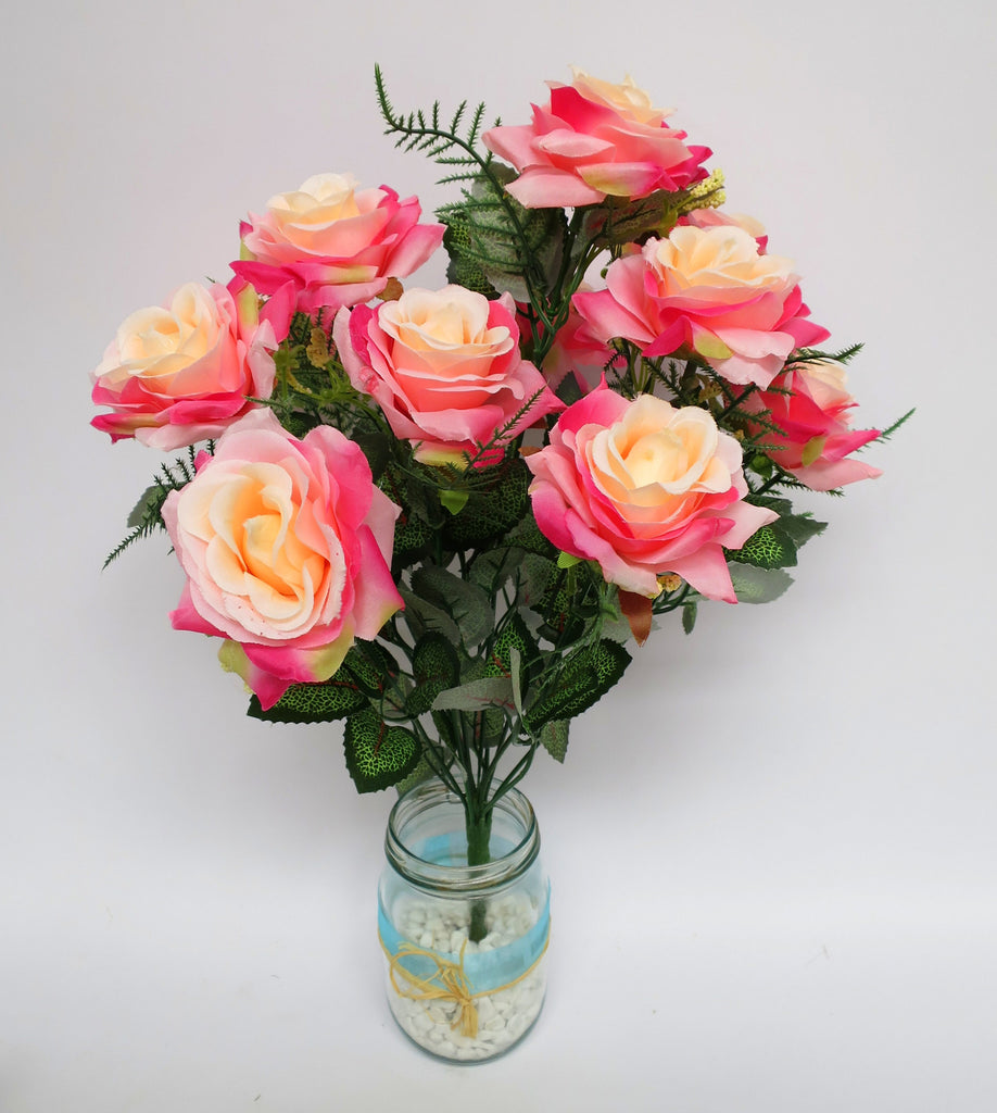 Sp0104 11 Silk Rose Bunch 11 Flowers 40cm Artistic Greenery