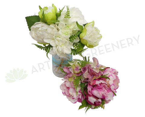 SP0163 Peony & Hydrangea (Mixed) Bunch 26cm 2 Colours White / Pink