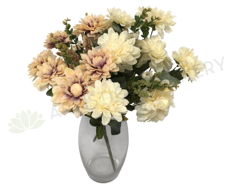 SP0192 Dahlia Bunch 44cm Rustic Purple / Cream
