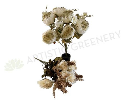 SP0193 & SP0356 Peony & Rose Bunch with Glitter Fillers 49cm 2 Styles | ARTISTIC GREENERY