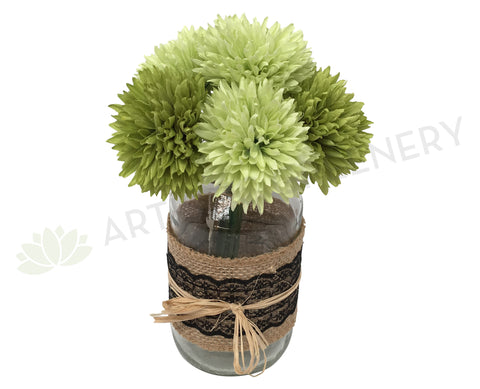 SP0198 Button Mum / Pom Pom Chrysanthemum Disbud Bunch 20cm Lime Green