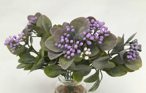 SP0199 Seeded Greenery Bunch 32cm Purple / Yellow