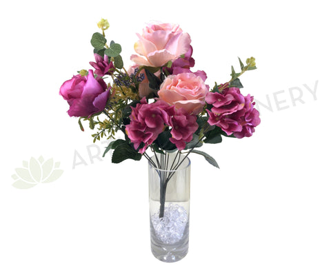 SP0242 Rose & Hydrangea Bunch with Greenery 52cm Pink
