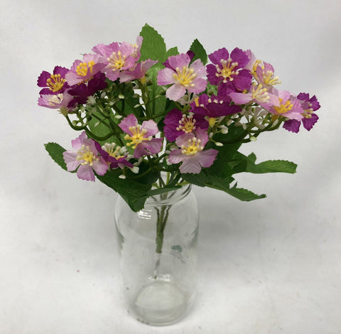 SP0255 Violet Flower Bunch 27cm Pink / Yellow / Purple