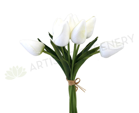 SP0273 PU Tulip Buds Bouquet 29cm (Real Touch) White