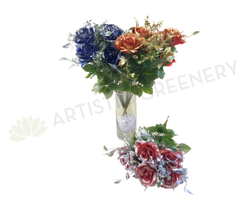 SP0274 Metallic Rose Bunch 53cm 3 Styles