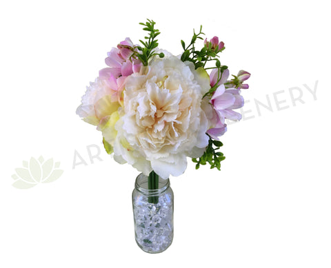 SP0288 Champagne Peony & Light Pink Cosmos Bouquet 34cm