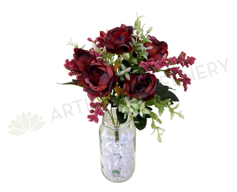 SP0290 Silk Ranunculus Bunch 32cm Burgundy