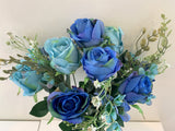 SP0300 Blue & Teal Rose Bunch 50cm