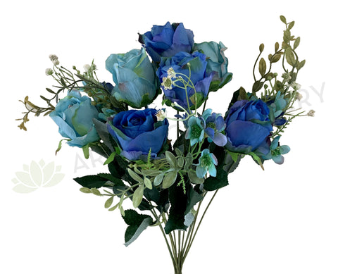 SP0300 Silk Blue & Teal Rose Bunch 50cm