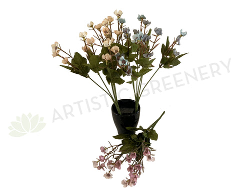 SP0306 Small Wax Flower Bunch 32cm 4 Colours