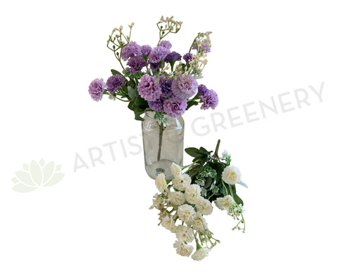 SP0307 Small Corn Flower / Carnation Bunch 28cm Lilac / White