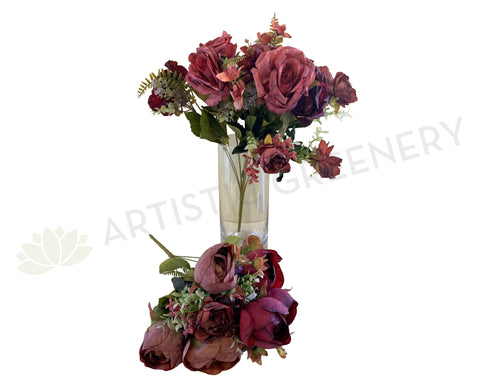 SP0315 Ranunculus / Rose Bunch 52cm Burgundy