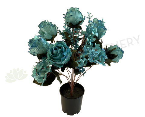 SP0331 Glitter Silk Rose Bunch 55cm Turquoise | ARTISTIC GREENERY