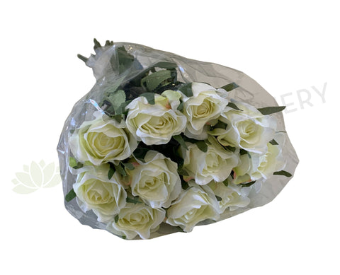 SP0334 Faux White Rose Bouquet 38cm (12 Individual Stems) | ARTISTIC GREENERY