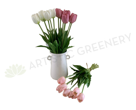 SP0346 Artificial Tulip Bunch 40cm Dark Pink / White / Light Pink | ARTISTIC GREENERY