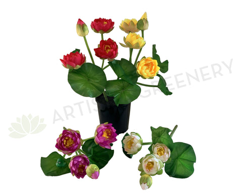 SP0348 Silk Water Lily  / Lotus Flower Bunch 38cm 4 Colours | ARTISTIC GREENERY PERTH