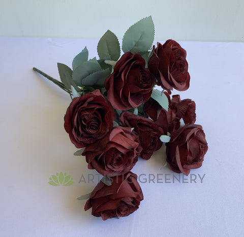 Burgundy - SP0375 Silk Rustic Rose Bunch 45cm Burgundy / Mocha | ARTISTIC GREENERY