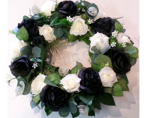 Black & White Rose Floral Wreath 30cm / 40 / 50cm - SYM0035