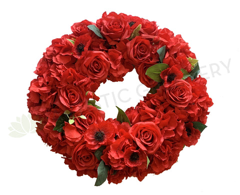 Anzac Floral Wreath (Red Poppy) 30 / 40 / 50cm - SYM0042