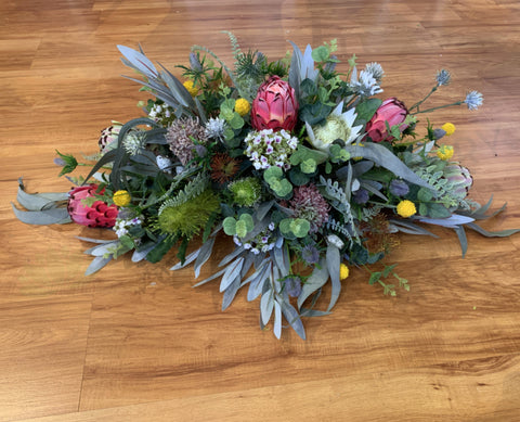 Faux Australian Native Casket Spray / Coffin Spray / Memorial Flowers 70cm /100cm / 140cm Long - SYM0043 | ARTISTIC GREENERY