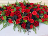 SYM0044 (Desiree) - Black & Red Memorial Flowers / Casket Spray / Graveside Flowers 90cm / 140cm Long | ARTISTIC GREENERY