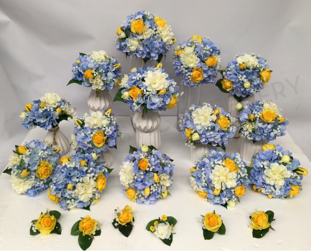 Blue And Yellow Round Bridal Bouquet Silk Flowers Perth Australia