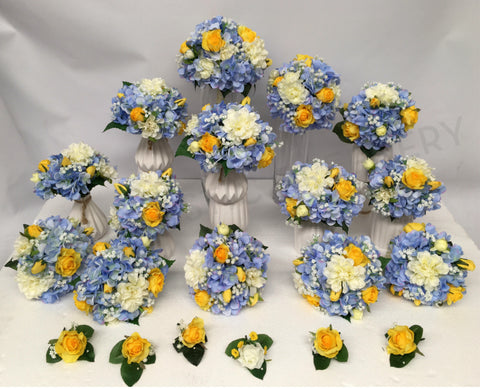 Round Bouquet - Yellow Blue White - Sarah M