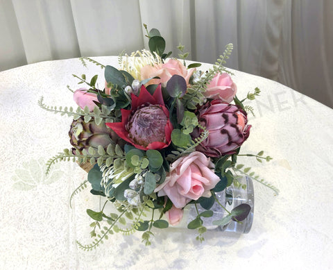 Round Bouquet - Native Flowers & Pink Real Touch Roses - Sarah P