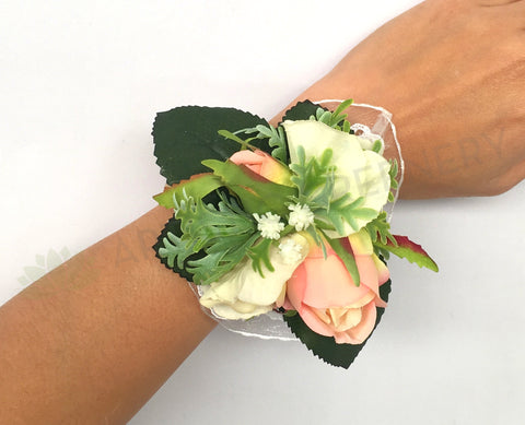 Corsage Roses With Gypsophila Dusty Miller Saska B Mother Of