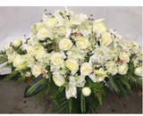 Elegant White Casket Spray 90cm Long - SYM0023