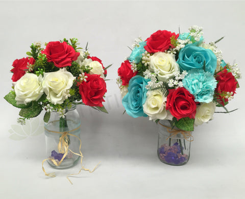 Round Posy Silk Roses Turquoise Bouquet Red And White Rose Bouquet