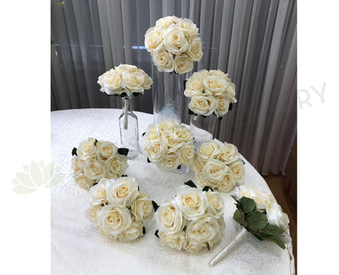 Round Bouquet - Ivory Posy Sunny M Bridesmaids Silk Flower Posy PERTH