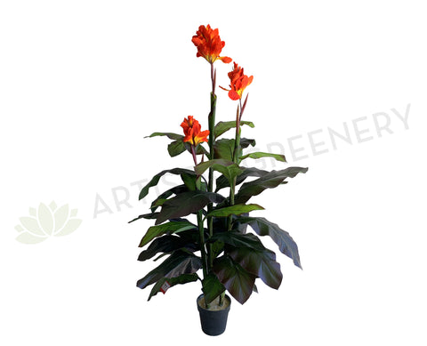T0030 Faux Canna Lily Plant Red Flowers 170cm | ARTISTIC GREENERY