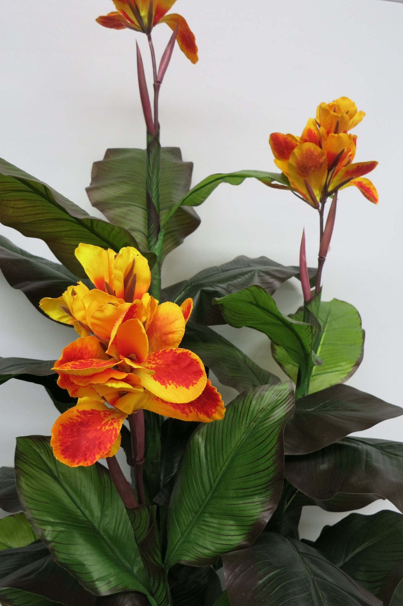 New Artificial Flowersplants T0030 Canna Lily Plant Yellow Flowers